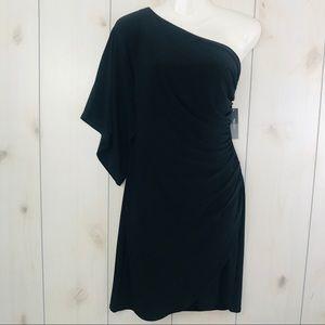 NWT Bisou Bisou Black One Shoulder Dress 8